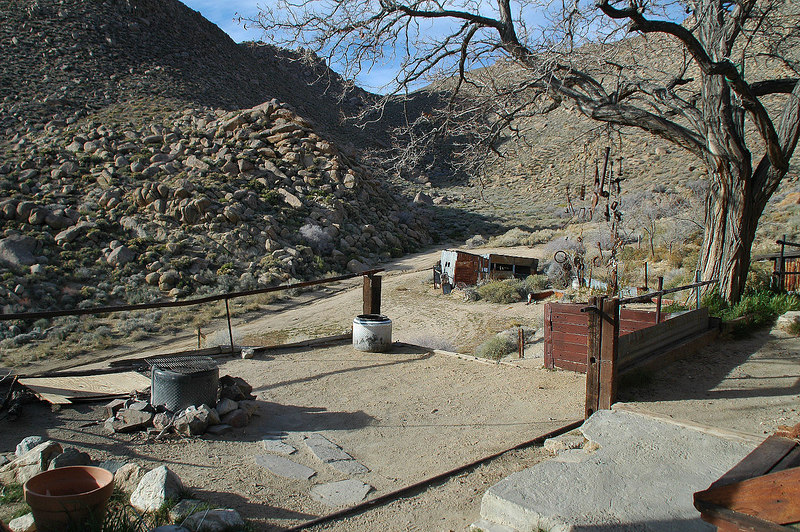 Area in front of the cabins. The hike to Manly Peak starts by going up this canyon.