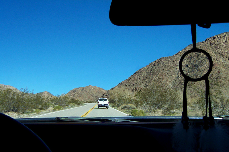 Sooz up ahead on the road into Joshua Tree's south entrance. We came across each another on the 10 freeway.